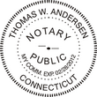 CT-NOT-RND-1 - Connecticut Notary Stamp Round<br>WITH</b> Expiration Date
