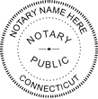 CT-NOT-RND-2 - Connecticut Notary Stamp Round<br>WITHOUT</b> Expiration Date