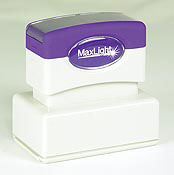 Order a pre-inked check endorsement stamp. The MaxLight Rubber Stamp gives about 50,000 impressions before needing more ink. Preview and Order Now!
