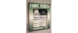 Superior industrial strength fabric marking ink kit from the rubber stamp shop for indelible marking of clothing or laundry includes ink and conditioner and ink pad.