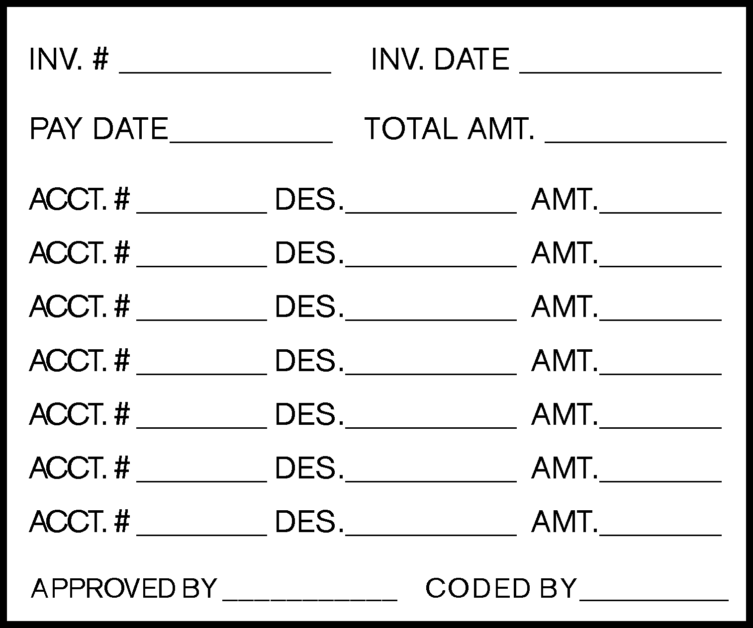 Invoice Coding Rubber Stamp 2 1
